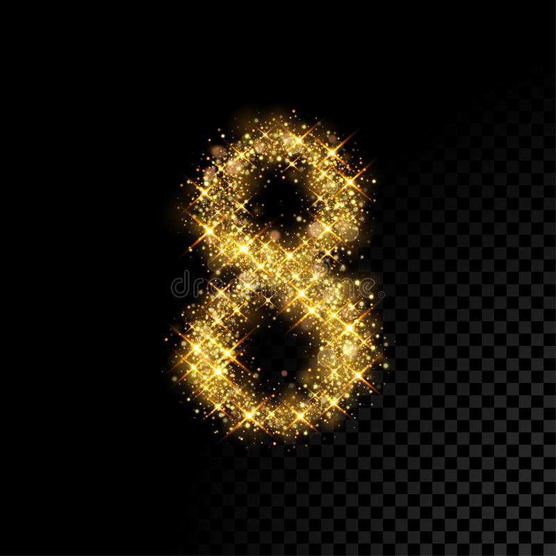 Download Gold Glittering Number Eight 8 On Black Background Stock Vector - Illustration of bright & Gold Glittering Number Eight 8 On Black Background Stock Vector ...