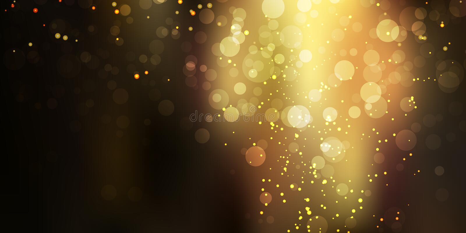 Gold glittering sparkle stardust on black background with bokeh lights stock illustration