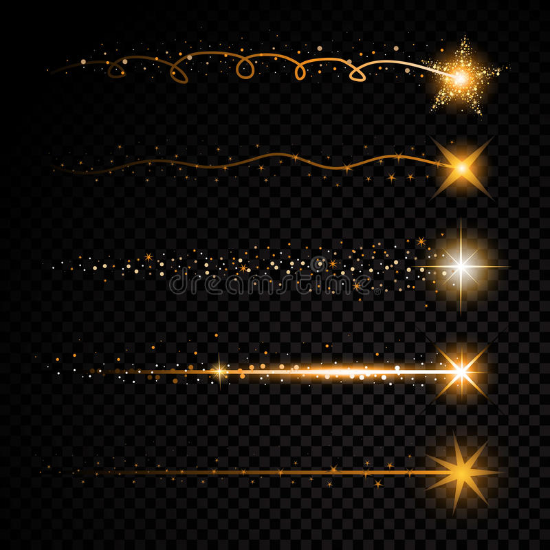 Gold glittering spiral star dust trail sparkling particles on transparent background. Space comet tail. Vector glamour royalty free illustration