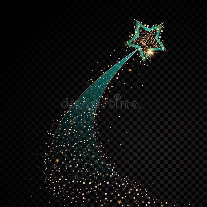 Gold glittering spiral star dust trail sparkling particles on transparent background. Space comet tail. Vector glamour stock illustration