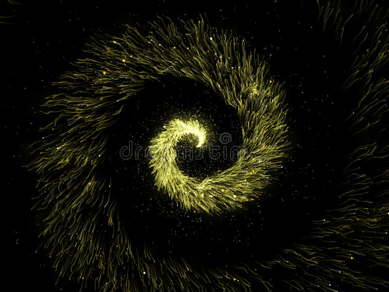 Gold glittering spiral trail of sparkling dust particles on black background. royalty free stock photography