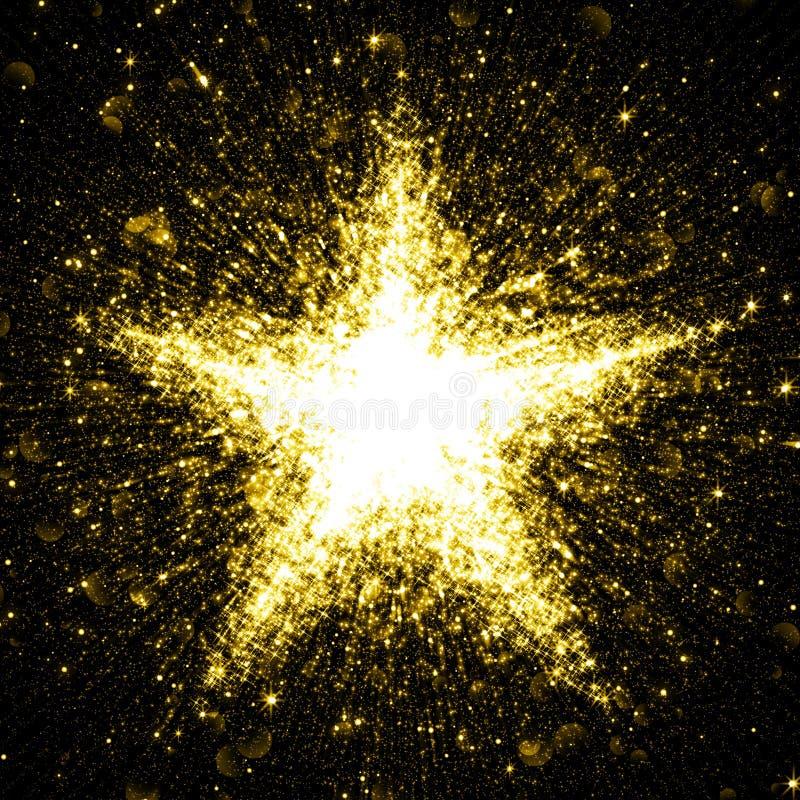 Gold glittering star of blinking stars. Explosion royalty free illustration