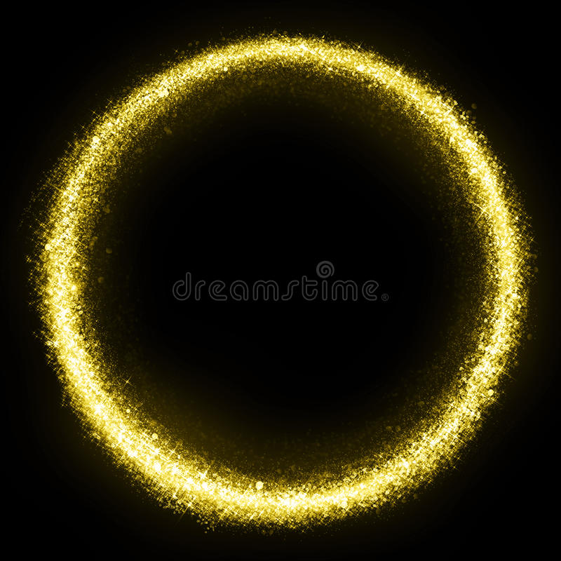 Gold glittering star dust circle royalty free stock images
