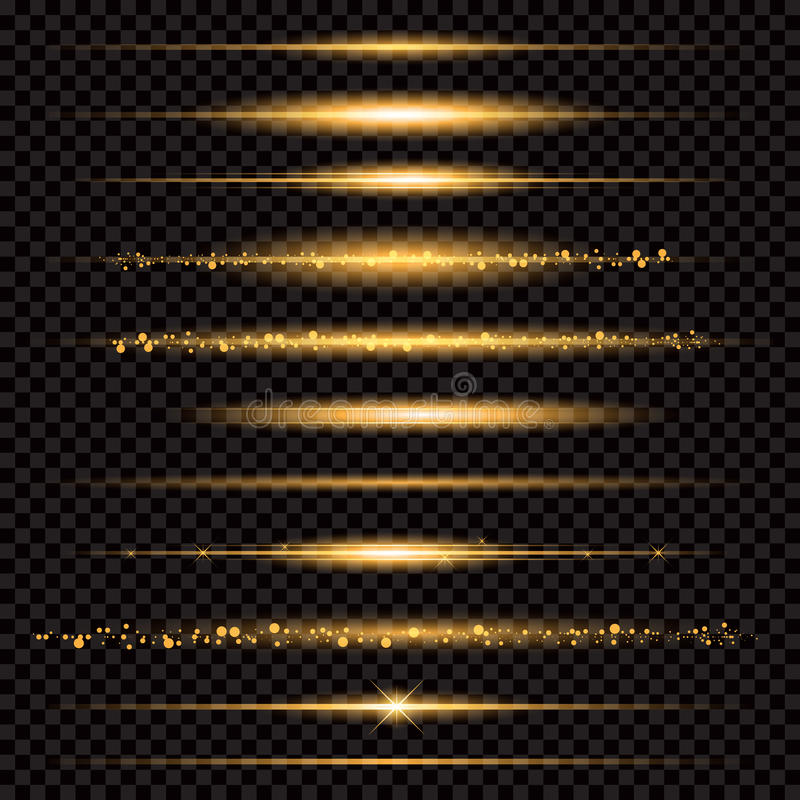 Gold glittering star dust trail sparkling particles on transparent background. Space comet tail. Vector glamour fashion stock illustration