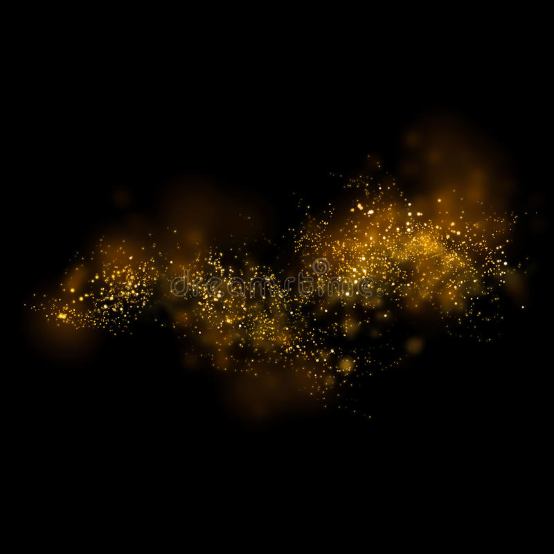 Gold glittering star light and bokeh.Magic dust abstract background element for your product. stock illustration