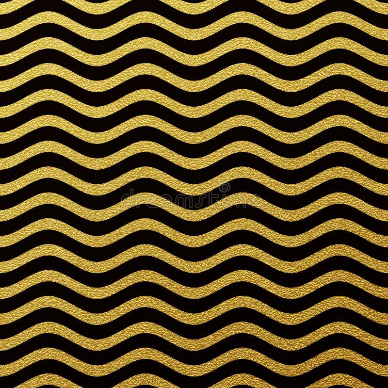 Gold glittering waves textured background stock illustration