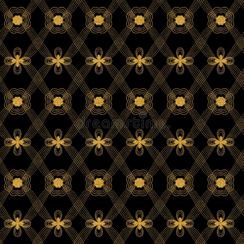 Gold glittery floral textured pattern with decorative rhombuses over black background. Gold glittery floral repeating pattern with thin delicate organic lines vector illustration
