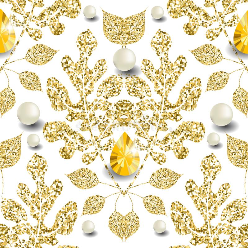 Gold glittery floral vector 3d seamless pattern. Leafy patterned jewelry background. Repeat damask glittering backdrop. Vintage. Floral glitters ornament with stock illustration