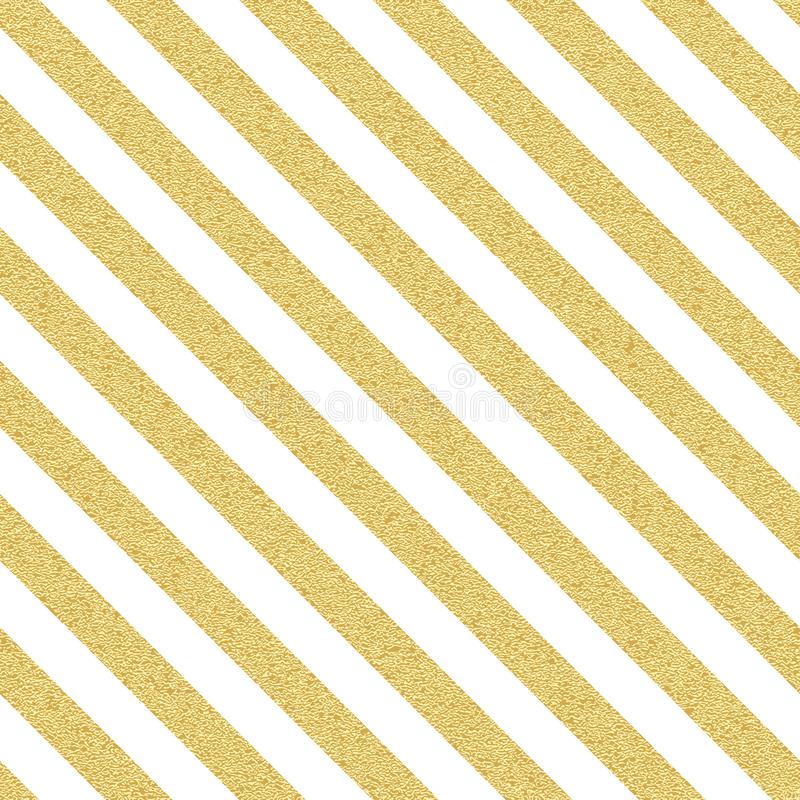 Gold glittery seamless stripes, lines pattern on white background. EPS 10 royalty free illustration