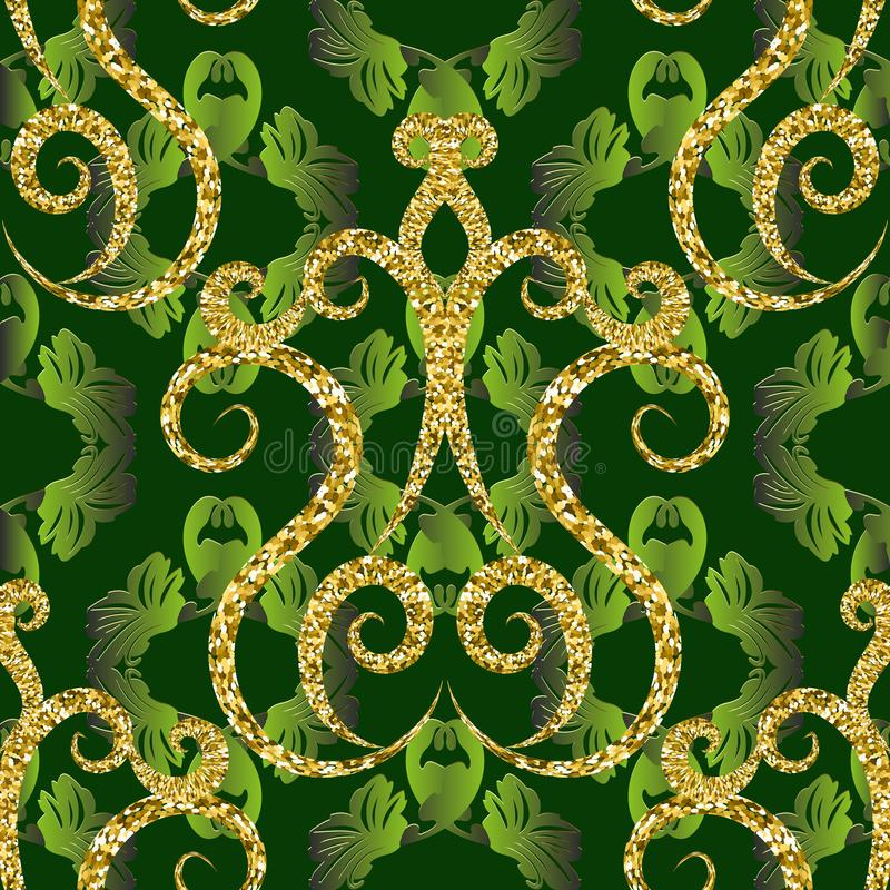 Gold glittery vintage 3d vector seamless pattern. Dark green ornamental floral background. Baroque style leafy repeat backdrop. Golden glitters, flowers, lines vector illustration