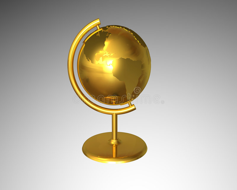 Gold globe vector illustration