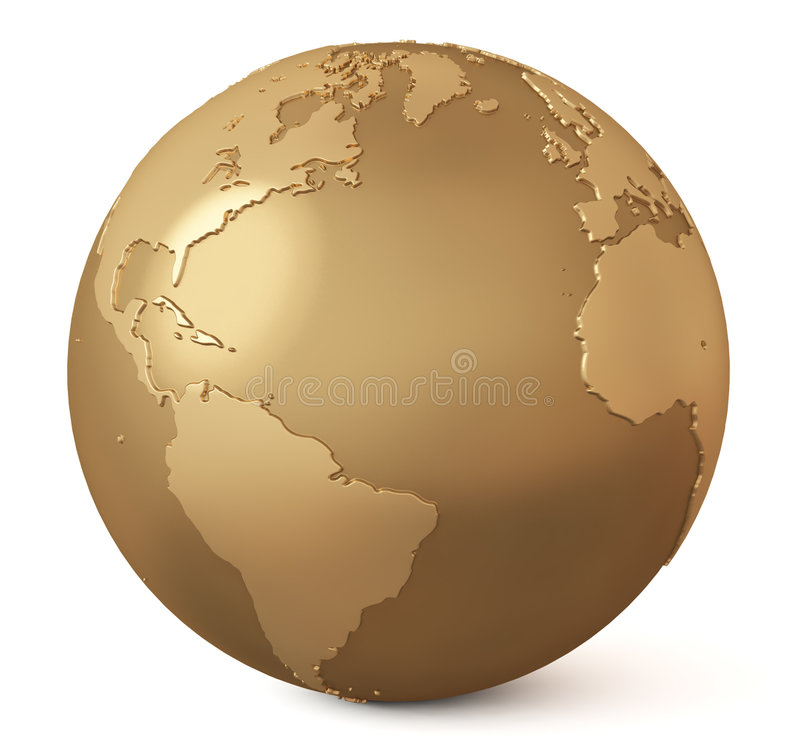 Gold Globe / Earth Model Royalty Free Stock Image