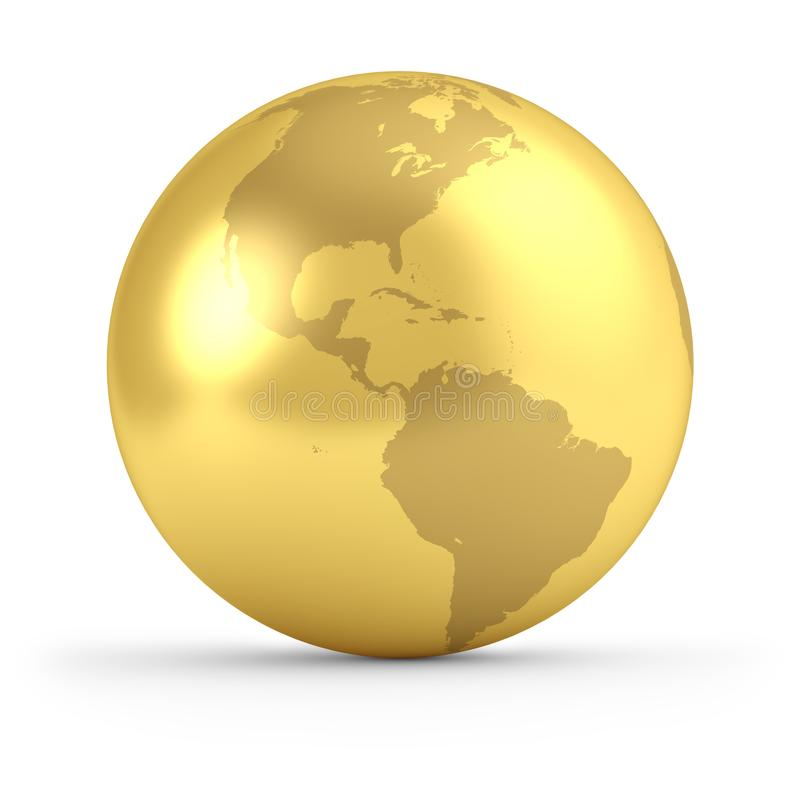 Gold globe side view. Gold globe isolated on white background. 3D rendering. Global business concept. Earth side view - North and South Americas vector illustration