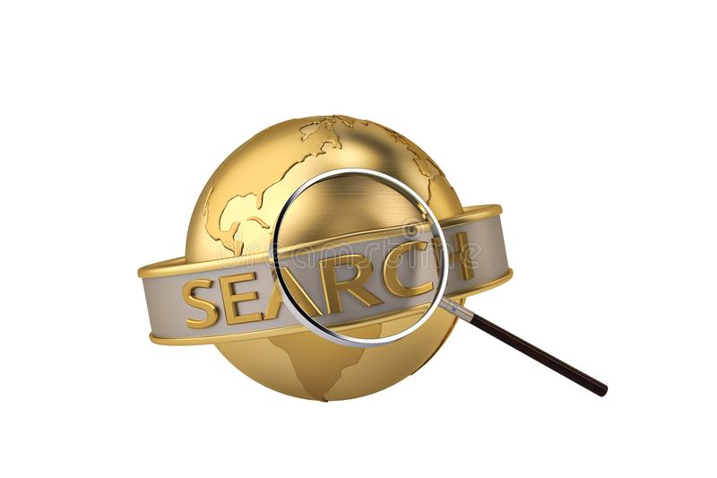 Gold globe with magnifying glass.3D illustration. royalty free illustration