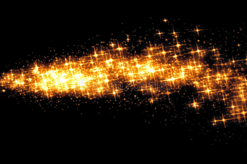 Gold glow glittering stars bokeh tail transition sparkle effect on black background, holiday happy new year royalty free stock photo