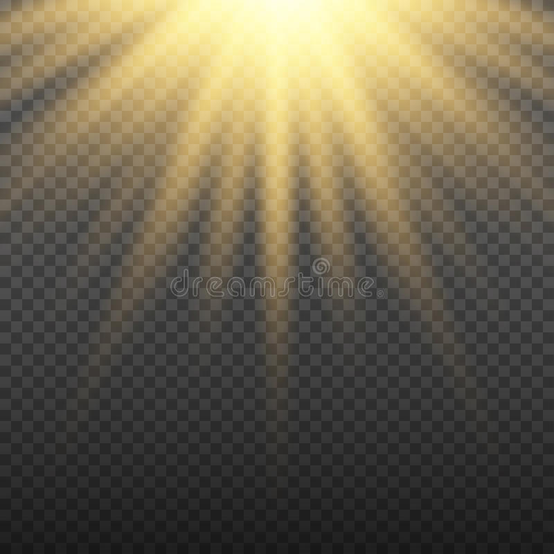 Gold glowing light burst explosion on transparent background. Bright flare effect decoration with ray sparkles royalty free illustration