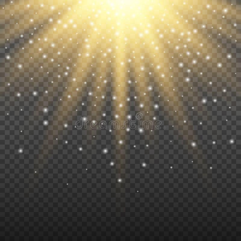 Gold glowing light burst explosion on transparent background. Bright flare effect decoration with ray sparkles. Gold glowing light burst explosion on transparent royalty free illustration