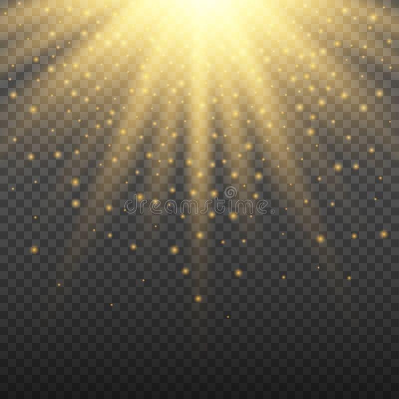 Gold glowing light burst explosion on transparent background. Bright flare effect decoration with ray sparkles. Gold glowing light burst explosion on transparent stock illustration