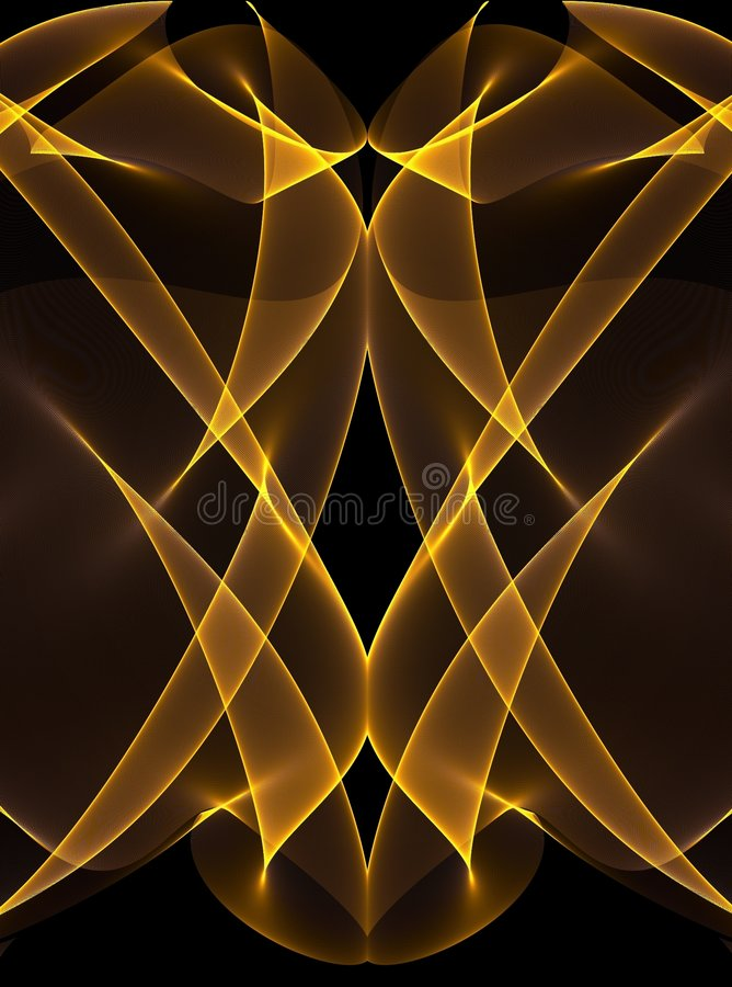 Gold Glowing Lines on Black royalty free illustration
