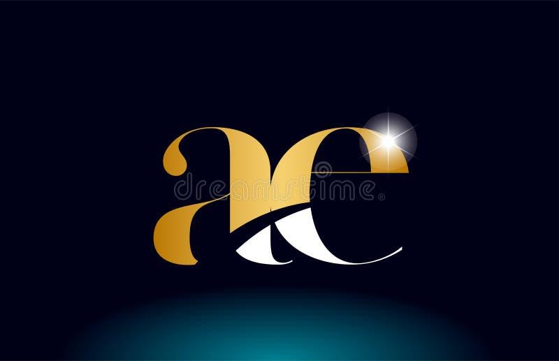 Gold golden alphabet letter ae a e logo combination company icon design. Gold golden alphabet letter ae a e logo icon combination design suitable for a company vector illustration