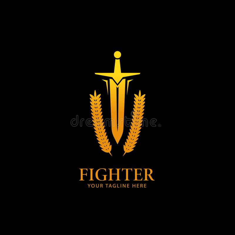 Gold golden color warrior knight fighter sword logo icon symbol with laurel wreath vector illustration