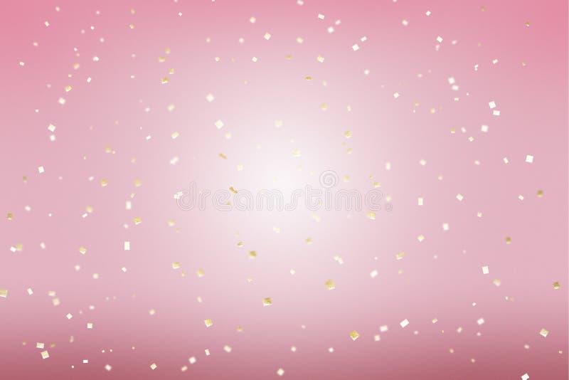 Gold golden confetti pink background in modern style. Romantic wallpaper decor. Happy birthday invitation poster background.  stock photo