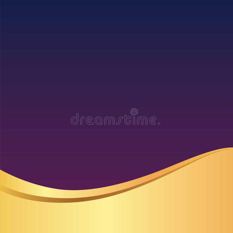 Gold / Golden Wave Elegant Purple Background / Pattern for Card , Poster , Website or Invitation stock illustration