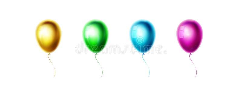 Gold, grüne, blaue, purpurrote Ballone lokalisiert auf weißem Hintergrund Realistische Farbeglatter und glänzender Helium Ballon  lizenzfreie abbildung