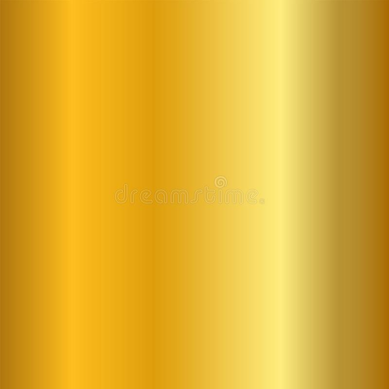 Gold gradient smooth texture. Empty golden metal background. Light metallic plate template, abstract pattern. Bright vector illustration