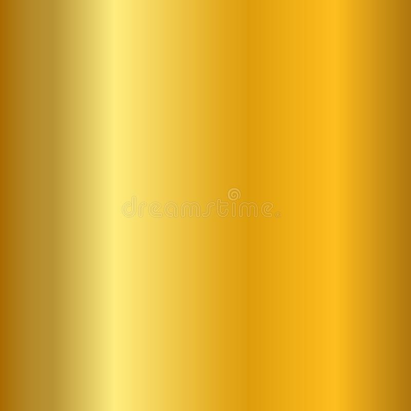 Gold gradient smooth texture. Empty golden metal background. Light metallic plate template, abstract pattern. Bright stock illustration