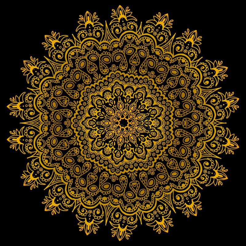 Gold gradient vector intricate lace. Oriental ethnic pattern royalty free illustration