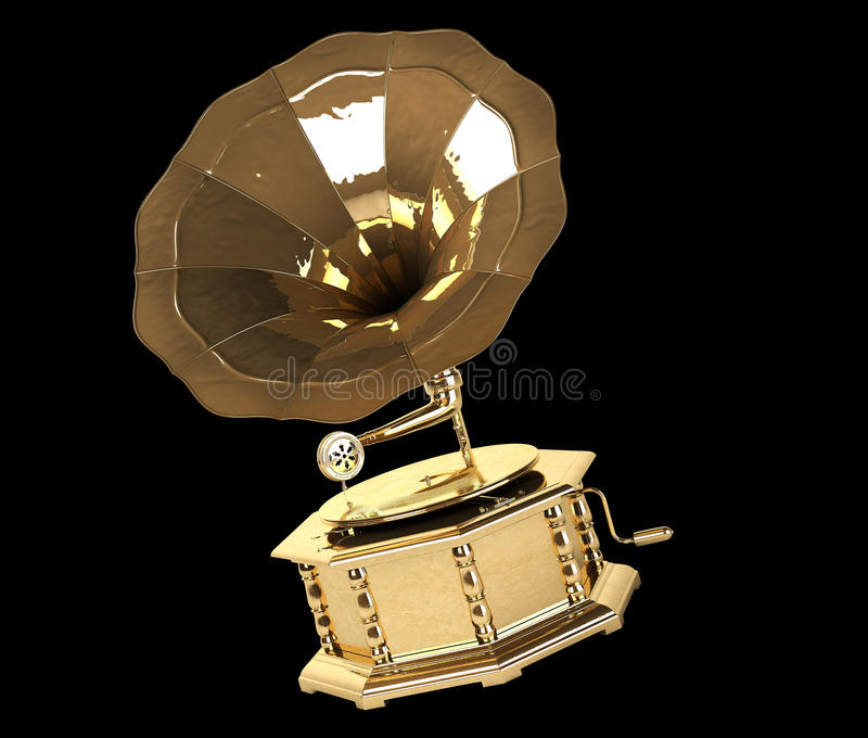 Gold Gramophone. Composition with Gold Gramophone generated by computer. Isoleted on black vector illustration