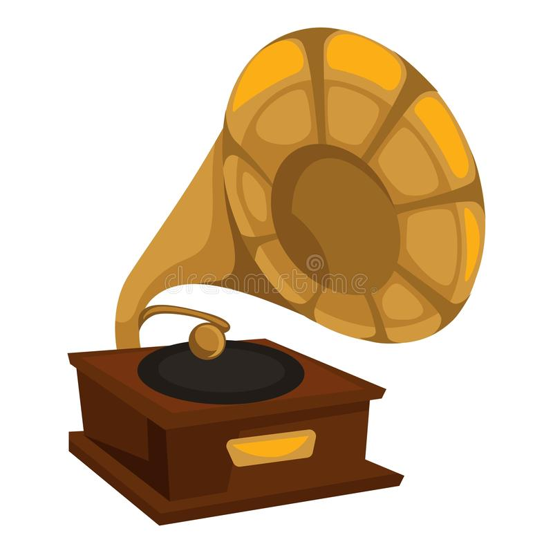 Gold gramophone in 1910s style, vinyl disc playing royalty free illustration