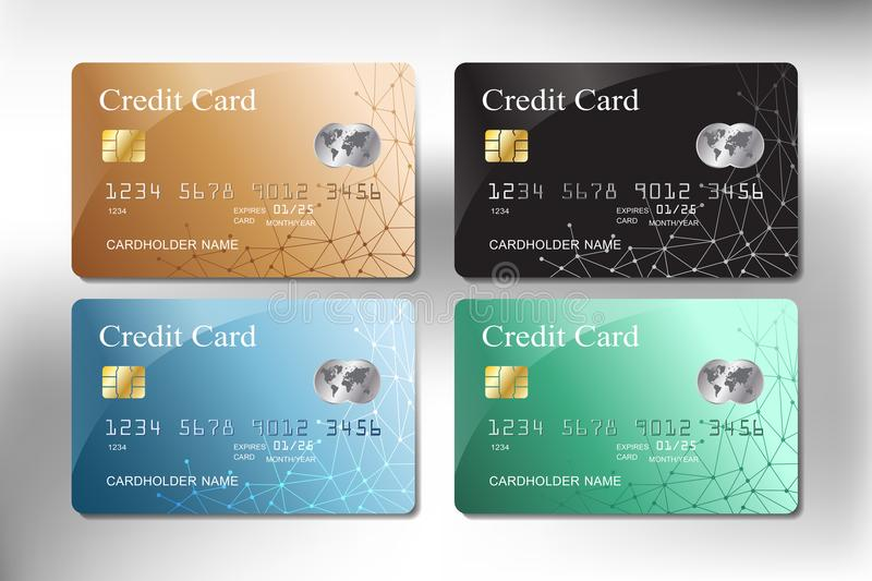 Realistic gold, green, blue and black color credit card vector design stock photos