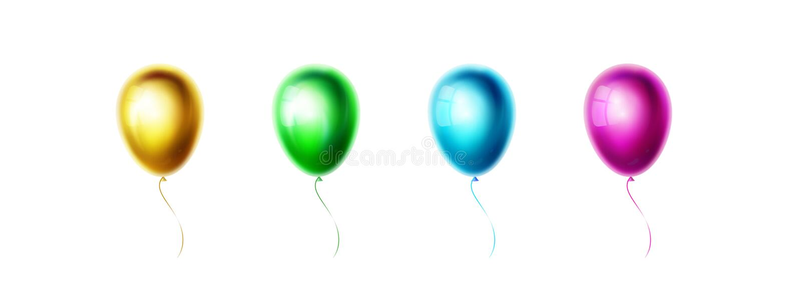 Gold, green, blue, purple balloons isolated on white background. Realistic color glossy and shiny helium ballon for royalty free illustration