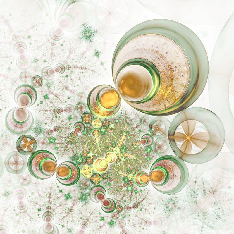 Gold and green fractal swirls. Digital artwork for creative graphic design stock illustration