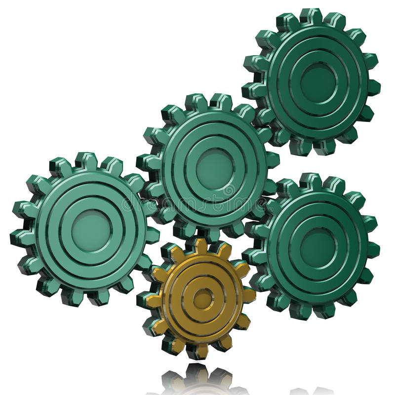 Gold and green gears stock illustration