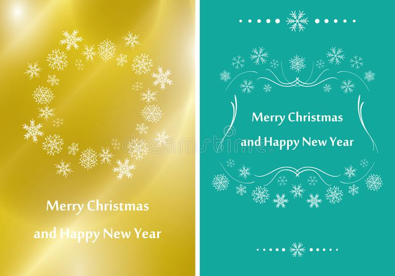 Gold and green greeting cards for christmas - vector flyers stock illustration