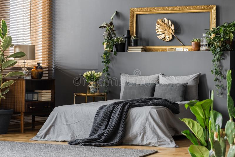 Gold and grey elegant bedroom royalty free stock image