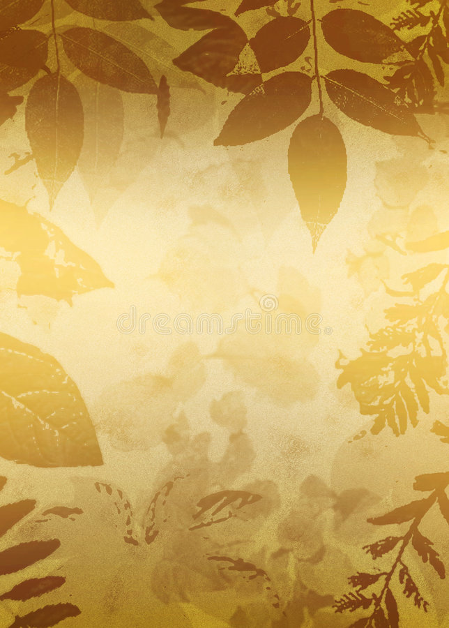 Gold Grunge Leaves Silhouette. Leaves silhouettes and background in golden tones grunge style background stock illustration