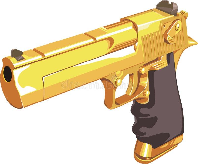 Gold gun vector illustration