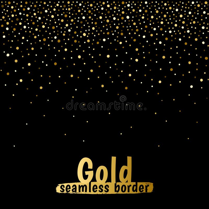 Gold hand drawn dots, spangle, sparkles seamless border. Gold hand drawn fading dots frame, border template seamless in horizontal direction. Golden glitter stock illustration