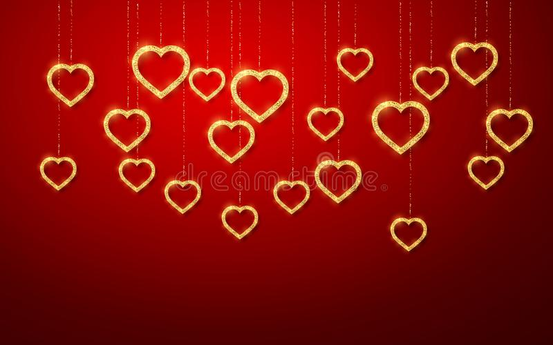 Gold handing shiny glitter glowing heart isolated on red background. Valentines Day background. Vector illustration stock illustration