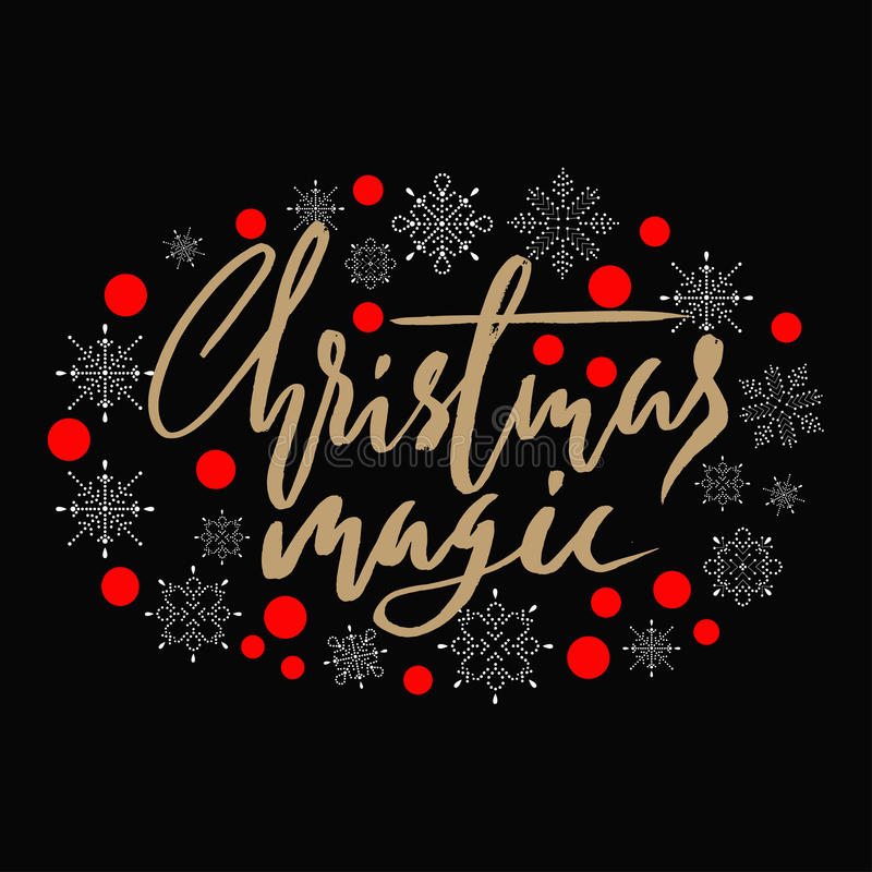Gold handwritten calligraphic inscription Christmas Magic with pattern of red confetti and snowflakes. Holiday lettering. EPS10 royalty free illustration