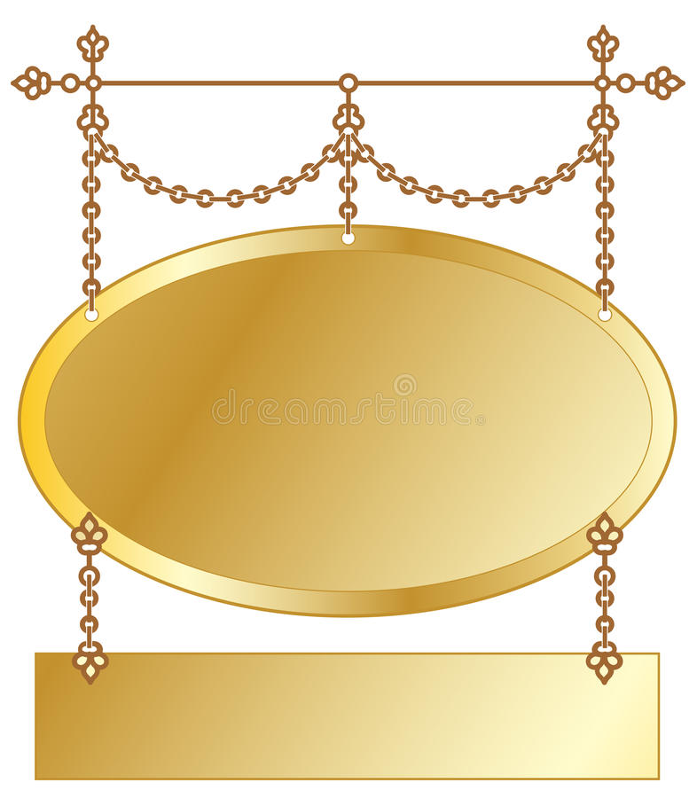 Gold Hanging Sign stock illustration