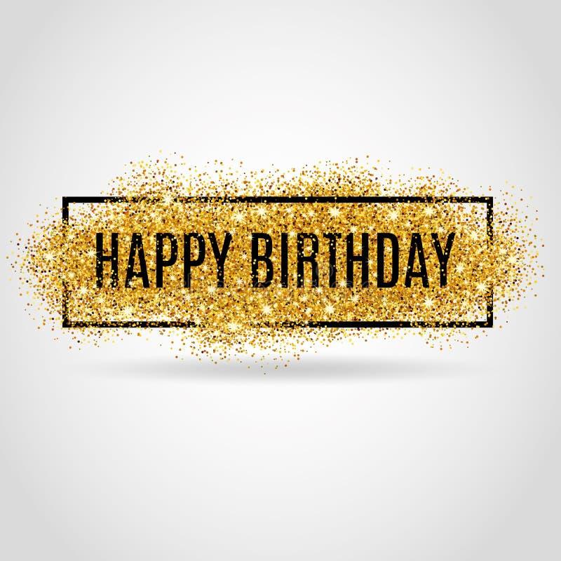 Gold Happy Birthday vector illustration