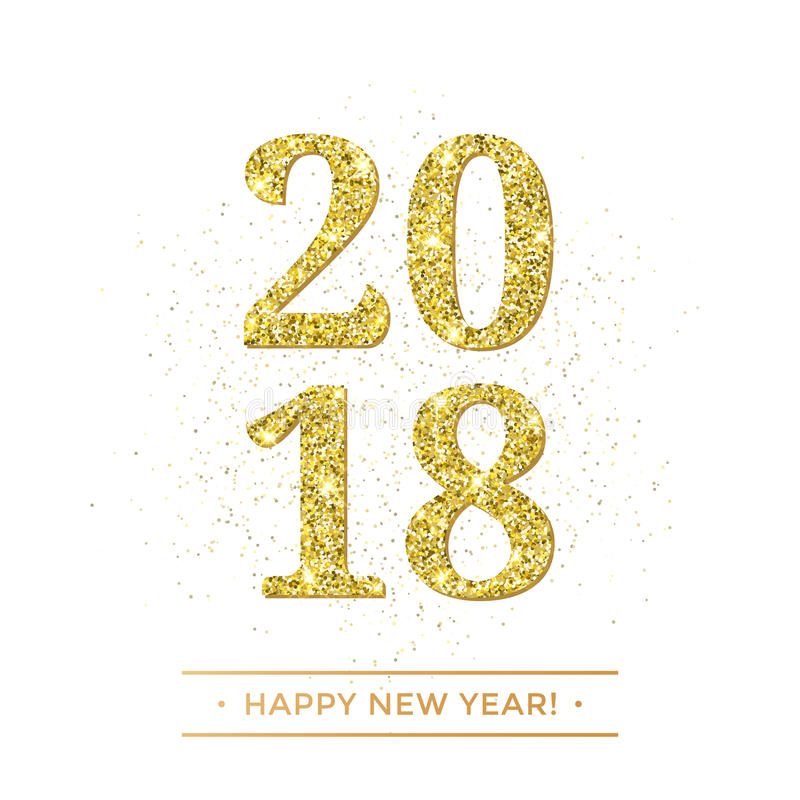 Gold 2018 Happy New Year vector on white background banner with golden glittering texture effect. Gold 2018 Happy New Year vector on white background for vector illustration