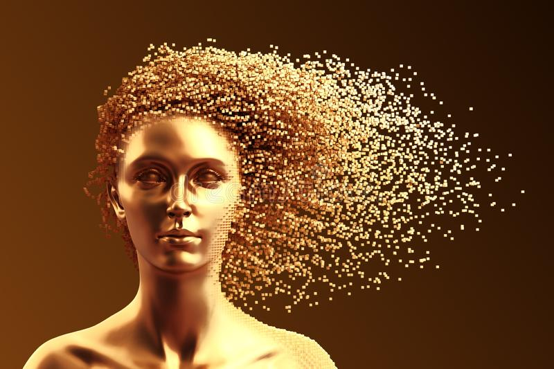 Gold Head Of Young Woman And 3D Pixels As Hair On Brown Background. 3D Illustration royalty free illustration