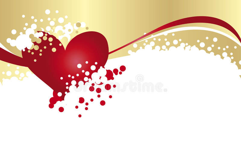 Gold and Heart royalty free illustration