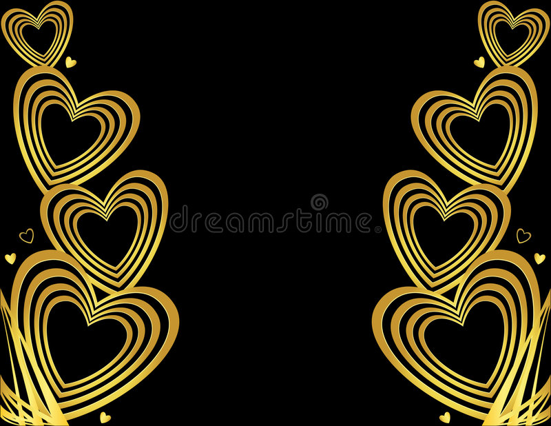 Gold heart background royalty free illustration